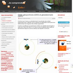 Orbite géosynchrone (GSO) et géostationnaire (GEO)