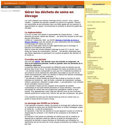 GDS01 23/06/10 Gérer les déchets de soins en élevage