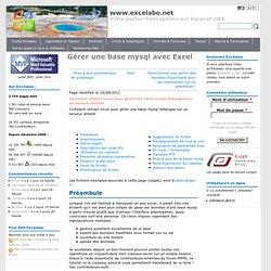 Gérer une base mysql avec Excel