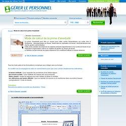 Modèle téléchargeable : Mode de calcul de la prime d'assiduité - Gererlepersonnel.fr - Gererlepersonnel.fr