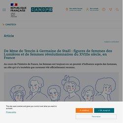 De Mme de Tencin à Germaine de Staël : figures de femmes des Lumières et de femmes révolutionnaires du XVIIIe siècle, en France - CanoTech