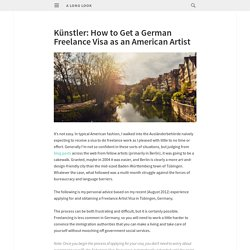 How to get a German Freelance Visa as an American Artist