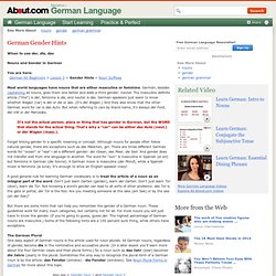 German Gender Hints - Noun Gender in German