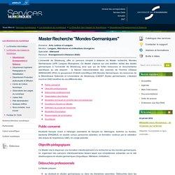 """Master Recherche """"Mondes Germaniques""""-Services numériques de l'Université de Strasbourg"""