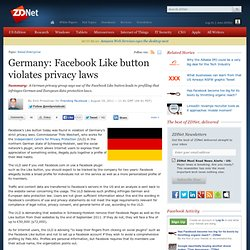 Germany: Facebook Like button violates privacy laws