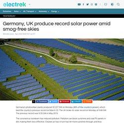 Germany, UK produce record solar power amid smog-free skies