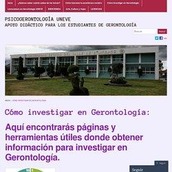Cómo investigar en Gerontología: « Psicogerontología UNEVE