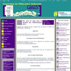 IEN St Gervais / Pays du Mont-Blanc - Des jeux en ligne pour la semaine des mathématiques 2019