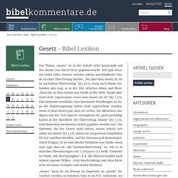 Gesetz – Bibel-Lexikon