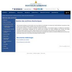 Université Paris 1 Panthéon-Sorbonne: Gestion des archives électroniques