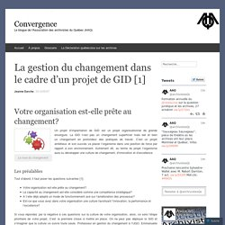 La gestion du changement dans le cadre d'un projet de GID [1]
