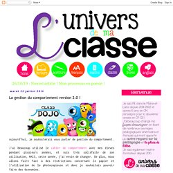 L'univers de ma classe: La gestion du comportement version 2.0 !