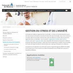 Gestion du stress et de l'anxiété - Doctorat de 1er cycle en médecine