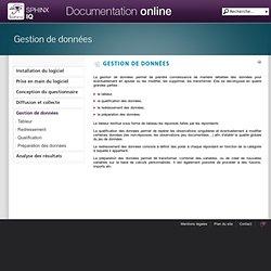 Gestion de données - Sphinx IQ : Documentation en ligne
