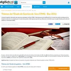 Etude de gestion Bac STMG 2016 - épreuve anticipée STMG