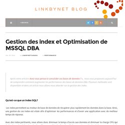 Gestion des index et Optimisation de MSSQL DBA
