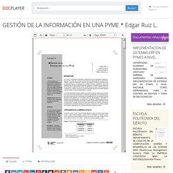 ⭐GESTIÓN DE LA INFORMACIÓN EN UNA PYME * Edgar Ruiz L.