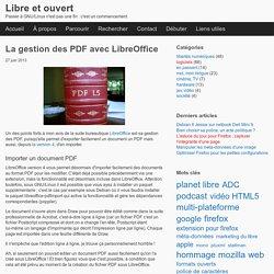 La gestion des PDF avec LibreOffice