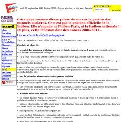 (F)ADBEN PARIS GESTION DES MANUELS SCOLAIRES QUEL EST NOTRE ROLE ?