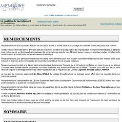 La gestion du recrutement - Camara Kerfalla
