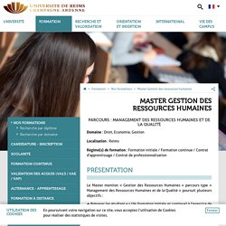 Master Gestion des ressources humaines