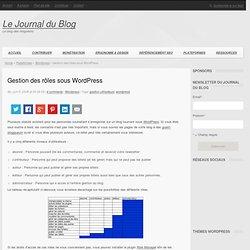 Gestion des rôles sous Wordpress