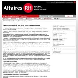 Affaires RH > Le coin du gestionnaire : La coresponsabilité : un levier pour mieux collaborer (86618)
