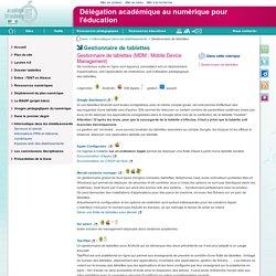 Gestionnaire de tablettes - Délégation académique au numérique pour l'éducation