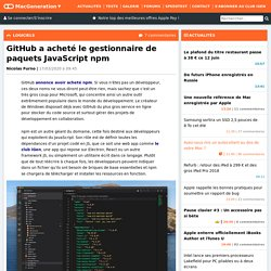 GitHub a acheté le gestionnaire de paquets JavaScript npm