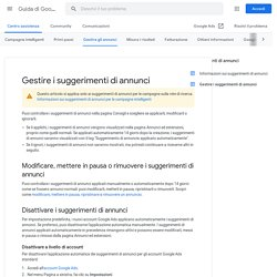 Gestire i suggerimenti di annunci - Guida di Google Ads