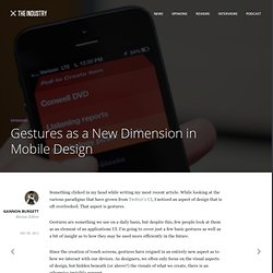 Gestures as a New Dimension in Mobile Design