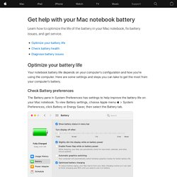 Get help with your Mac notebook battery