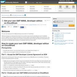 Get your own SAP HANA, developer edition on Clo