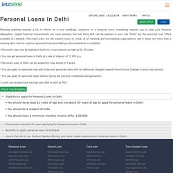 Get Personal Loans in Delhi