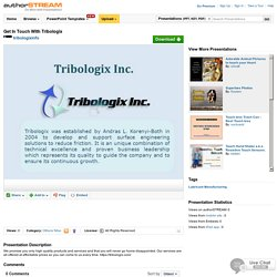 Get In Touch With Tribologix