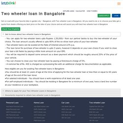 Get Two wheeler loan in Bangalore