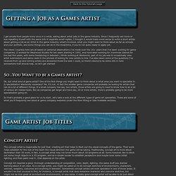 Getting a Job as a Games Artist