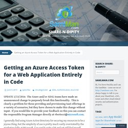 Getting an Azure Access Token for a Web Application Entirely in Code