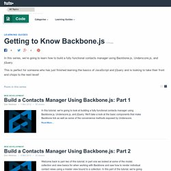 Getting to Know Backbone.js - Tuts+ Code Tutorials