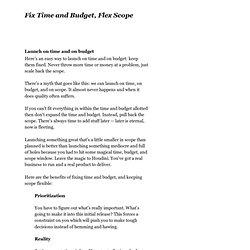 Fix Time and Budget, Flex Scope