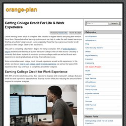 Getting College Credit For Life & Work Experience – orange-plan