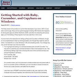 Getting Started with Ruby, Cucumber, and Capybara on Windows - Agile For All
