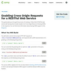 Getting Started · Enabling Cross Origin Requests for a RESTful Web Service
