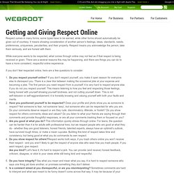 Getting and Giving Respect Online