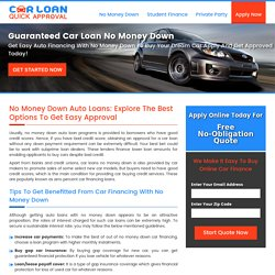 Simple No Money Down Car Loans, Tips for Getting Guaranteed Auto Financing