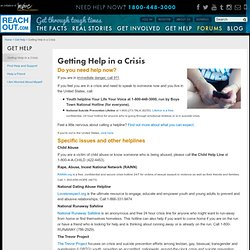 Getting Help in a Crisis : Get Help : ReachOut.com USA