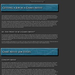 Getting a Job as a Games Artist