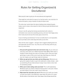 Rules for Getting Organized & Decluttered