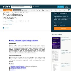 Getting Started in Physiotherapy Research