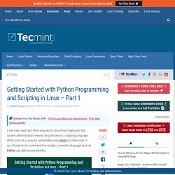 Getting Started with Python Programming and Scripting in Linux - Part 1